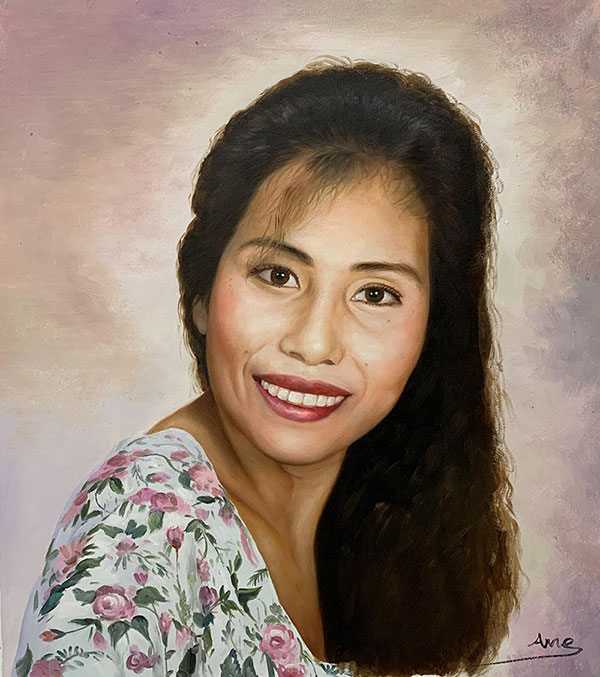 Personalized handmade oil portrait of a lady