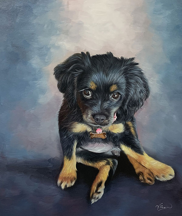Beautiful oil painting of a puppy with a solid background