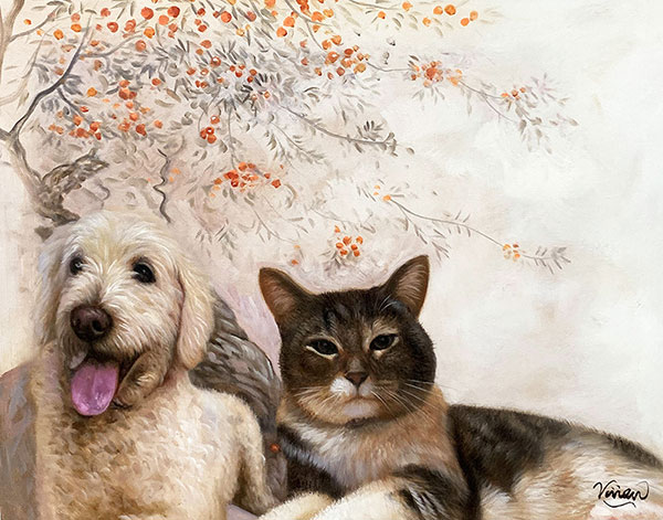 Beautiful oil painting of a cat and a dog