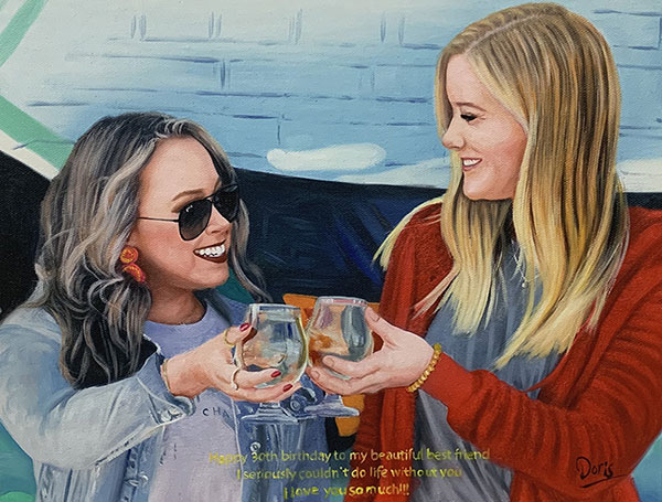 Beautiful handmade oil painting of two friends