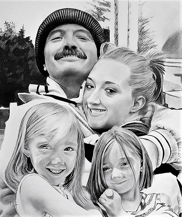 Beautiful handmade charcoal painting of a happy family
