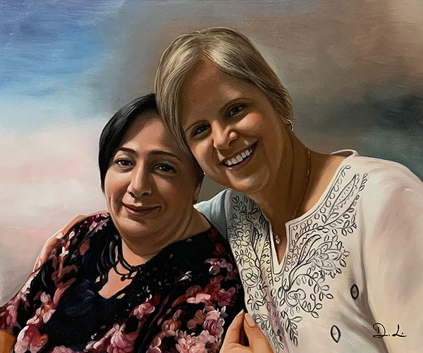 Beautiful handmade oil painting of two women