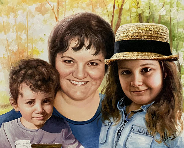 Personalized oil painting of a grandmother with grand kids