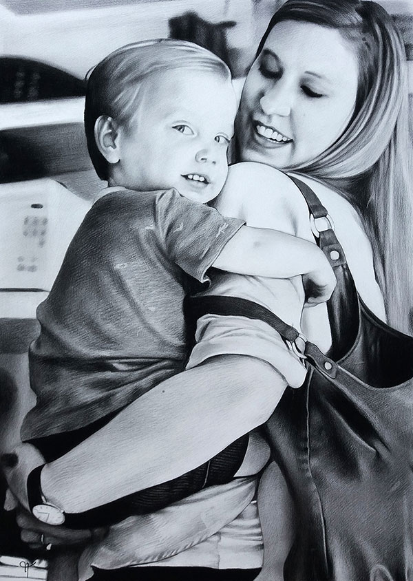 Beautiful handmade charcoal painting of a mother and child