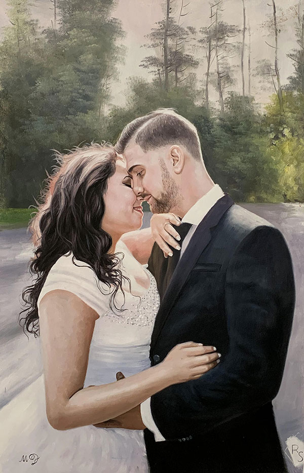Gorgeous oil artwork of a just married couple