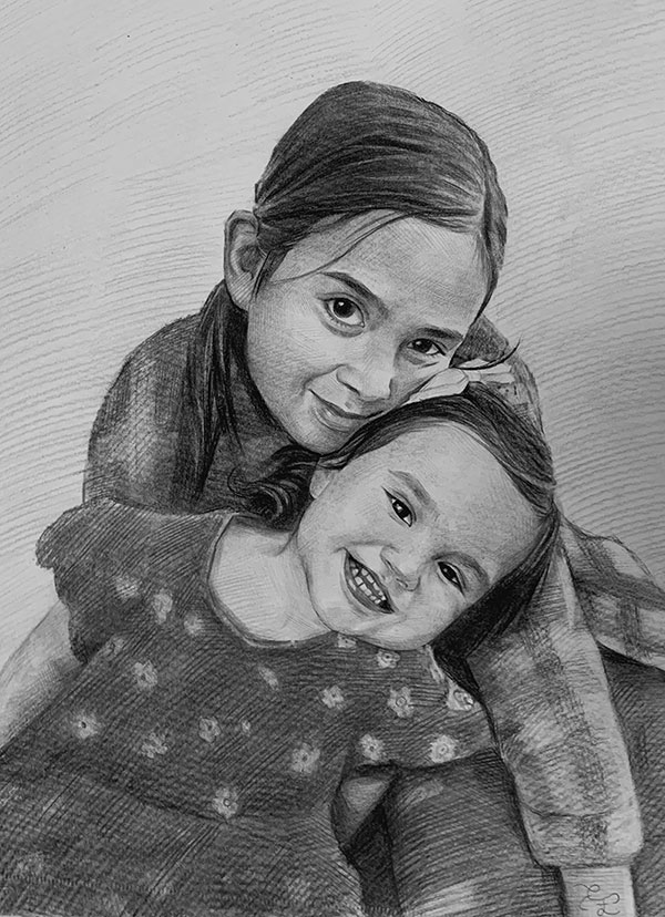 Beautiful charcoal painting of the two children