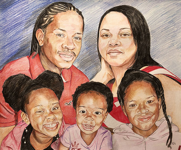 Custom color pencil painting of a couple with three kids