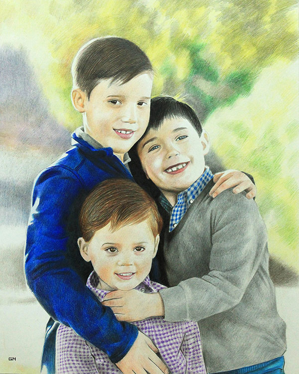Beautiful color pencil painting of three kids