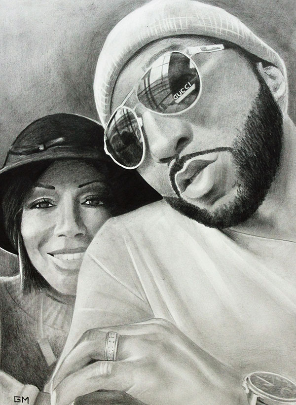 Gorgeous handmade black pencil artwork of a couple