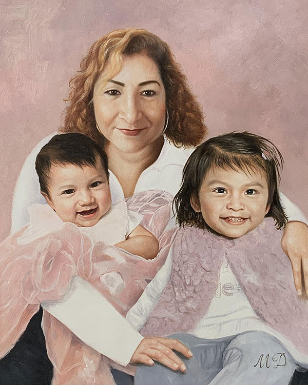 Personalized handmade oil artwork of a mother and children