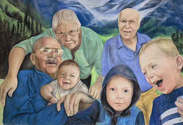 Beautiful color pencil painting of a loving family