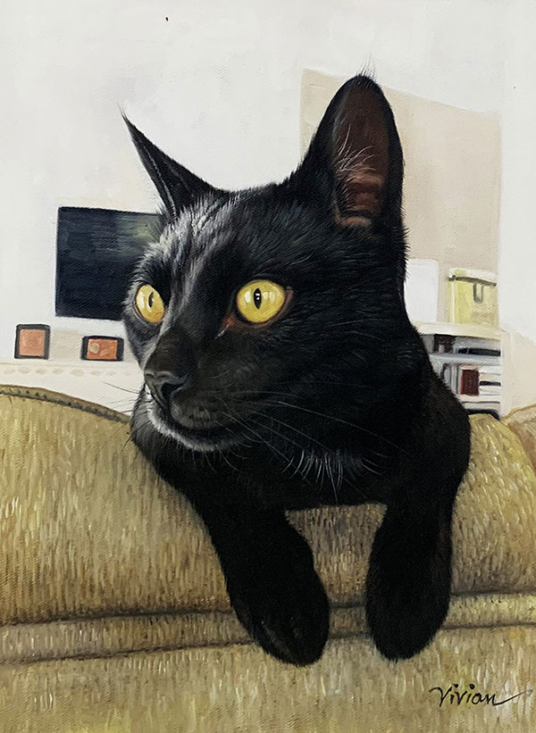 Beautiful oil artwork of a black cat with green eyes