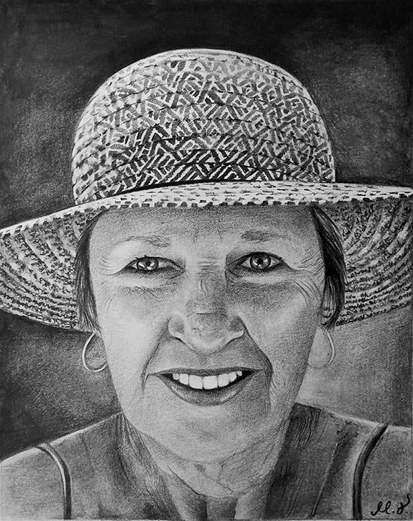 Gorgeous handmade black pencil portrait of a woman with hat