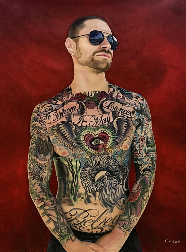 Personalized oil portrait of a man with tattoos