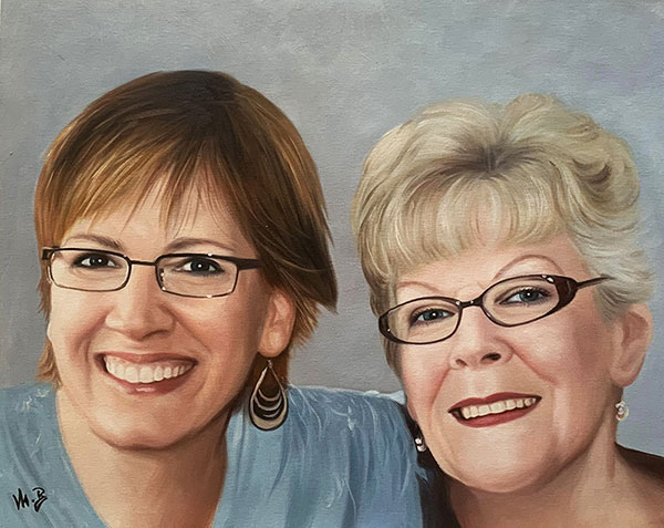 Beautiful oil portrait of two adults
