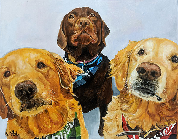 Custom oil artwork of three dogs with a solid background