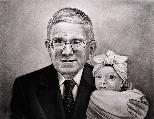 Beautiful charcoal painting of a grandfather with a baby