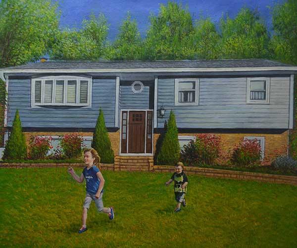 Handmade oil painting of hcildren painting near house
