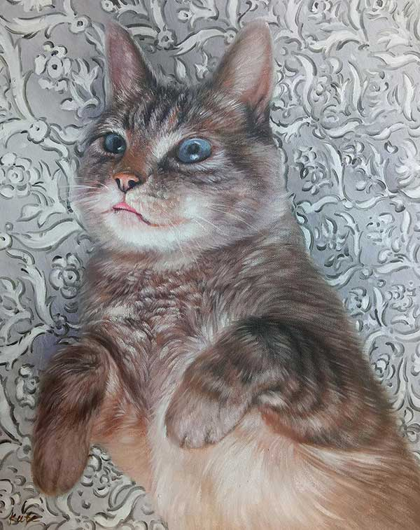 oil painting of a cat laying on back cute