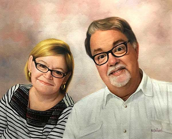 painting of a picture of couple in glasses