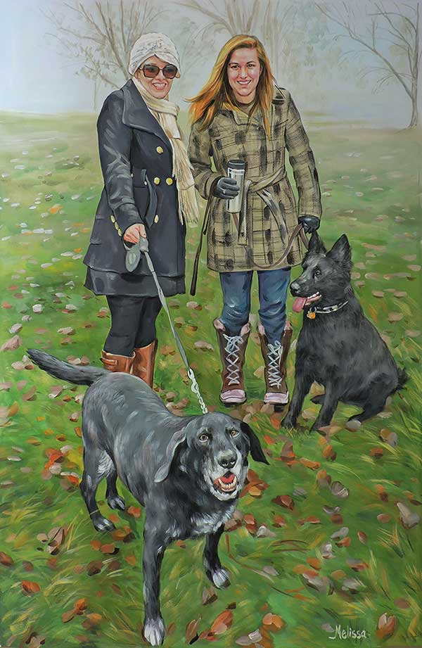 pastel portrait of two women with their dogs