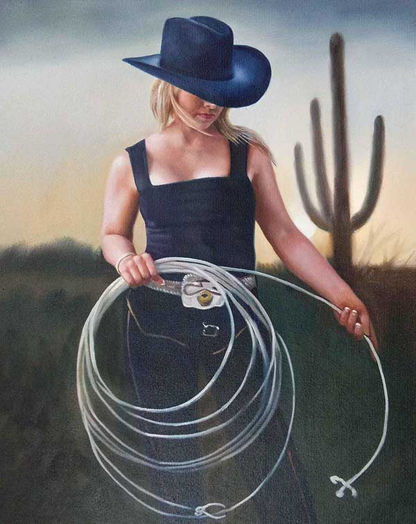 oil painting on canvas of cowgirl with lasso near cacti