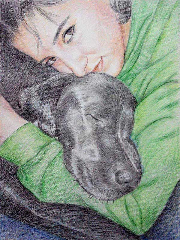 color pencil portrait of dog and woman