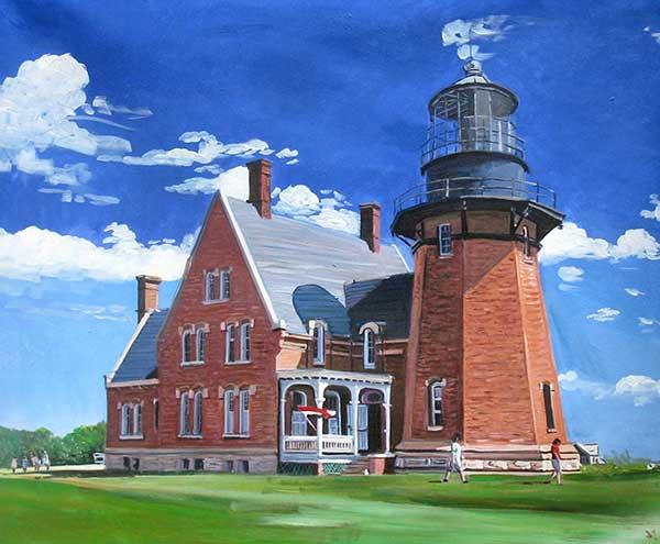 custom acrylic portrait of a lighthouse