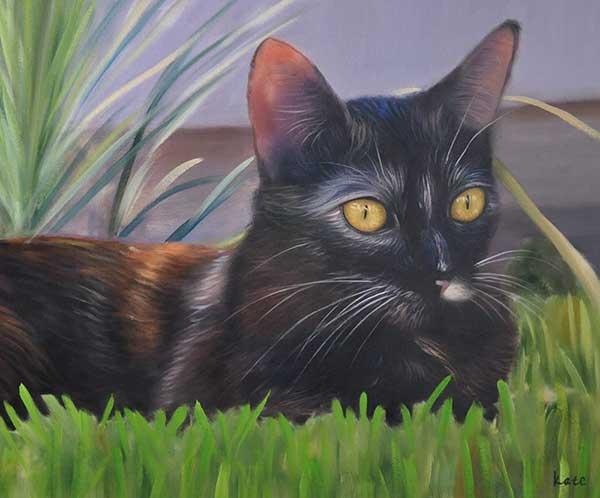 ritratto ad olio da foto gatto