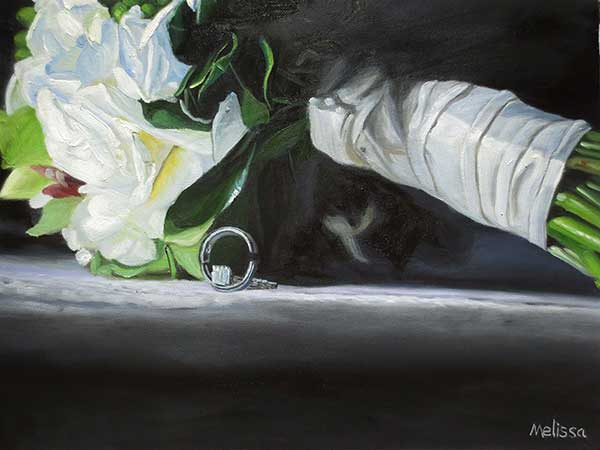 wedding painter oil painting of bouqet and rings