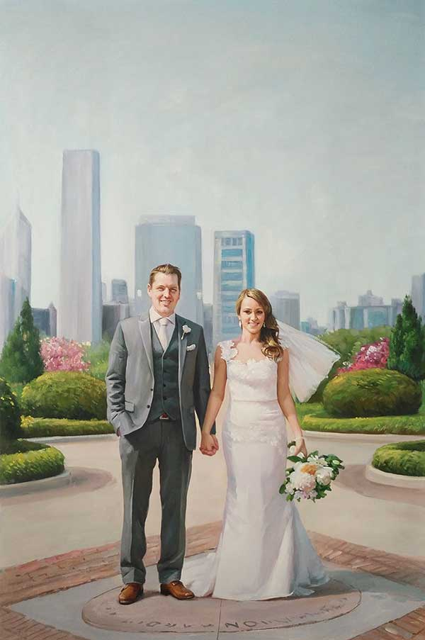 an oil painting of a wedding skyscrapers behind