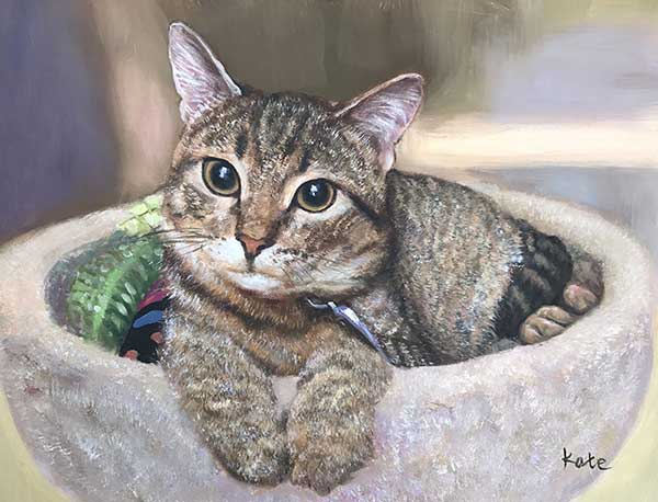 Stunning oil painting of a cat with beautiful eyes