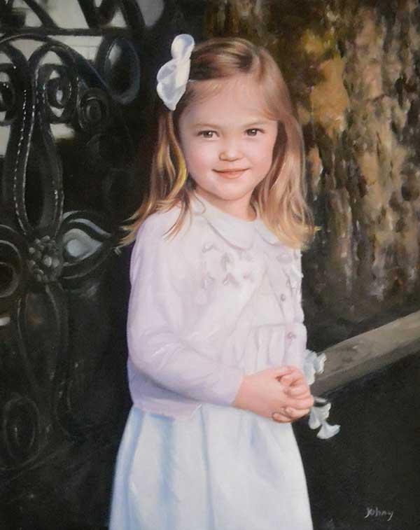 Stunning oil portrait of a child