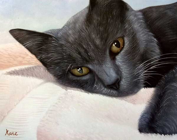 majestic oil painting of a black cat laying on a bed