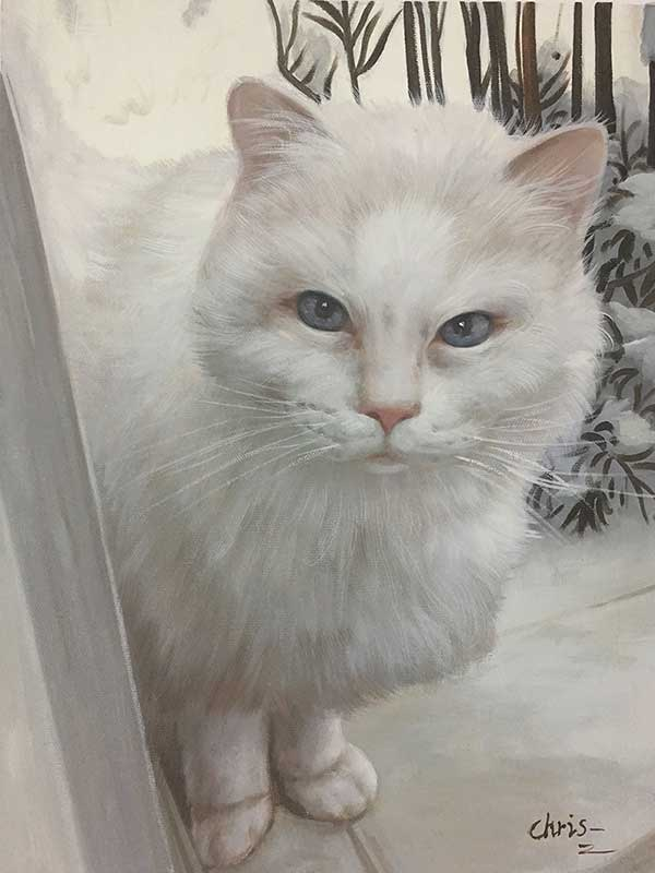 oil painting portrait white cat blue eyes