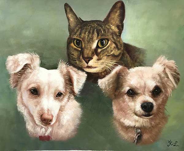 merged painting photo dog portrait cat