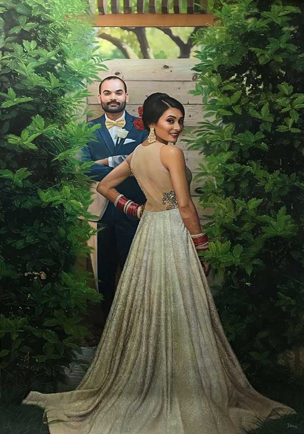 Beautiful oil painting of a wedding