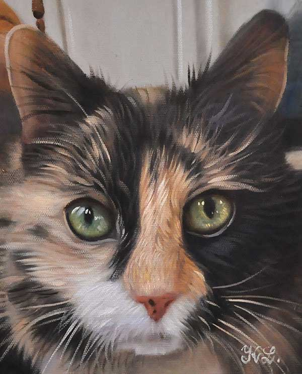Majestic oil painting of a black and brown cat with yellow eyes