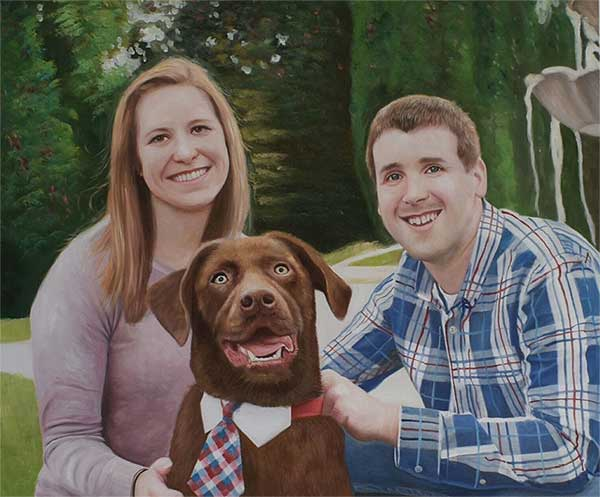 Happy family and a goofy brown dog