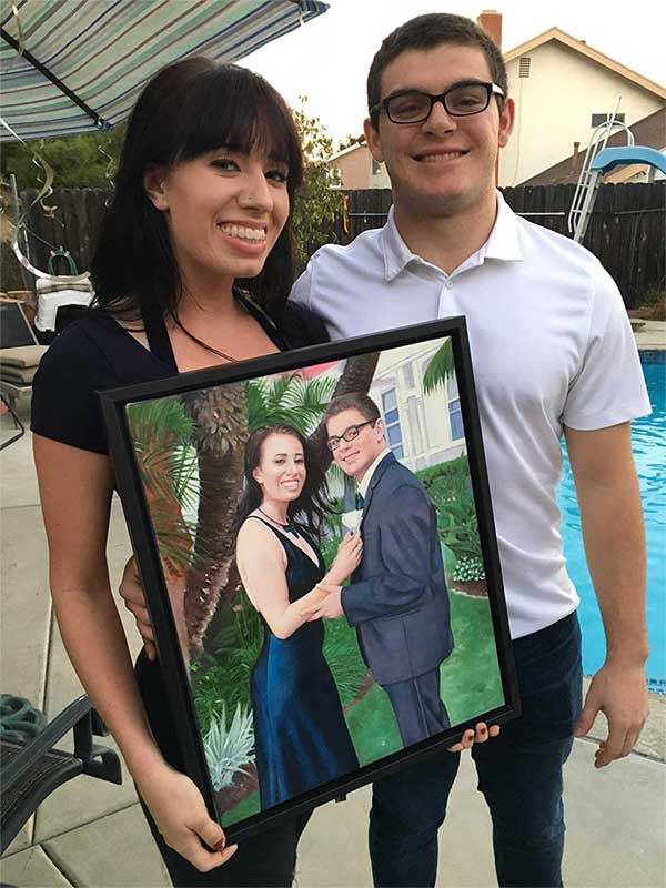 oil painting of a prom gift