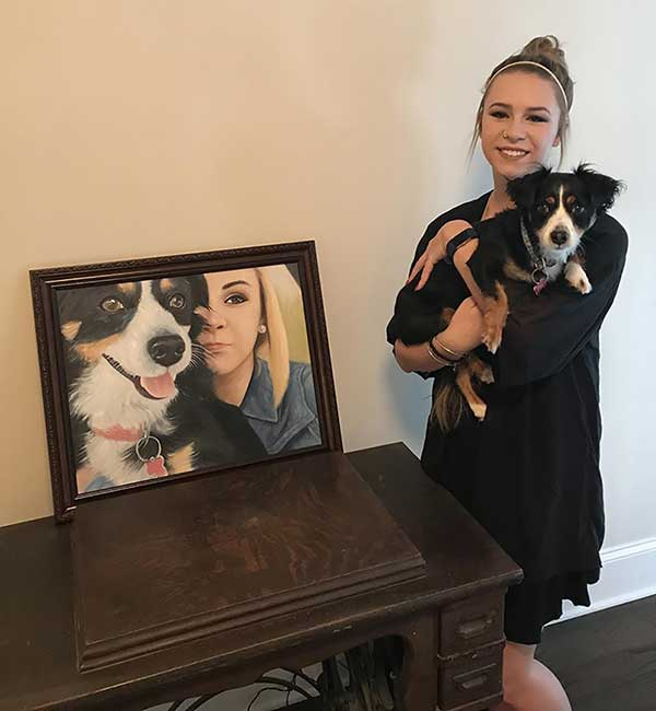 an oil painting of a corgi and a girl