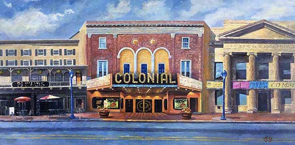 an oil painting of colonial cinema