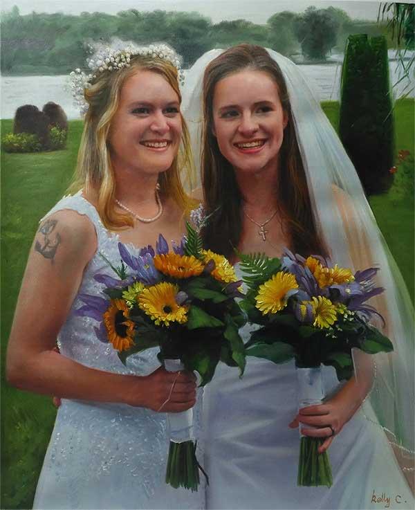 an acrylic painting a wedding