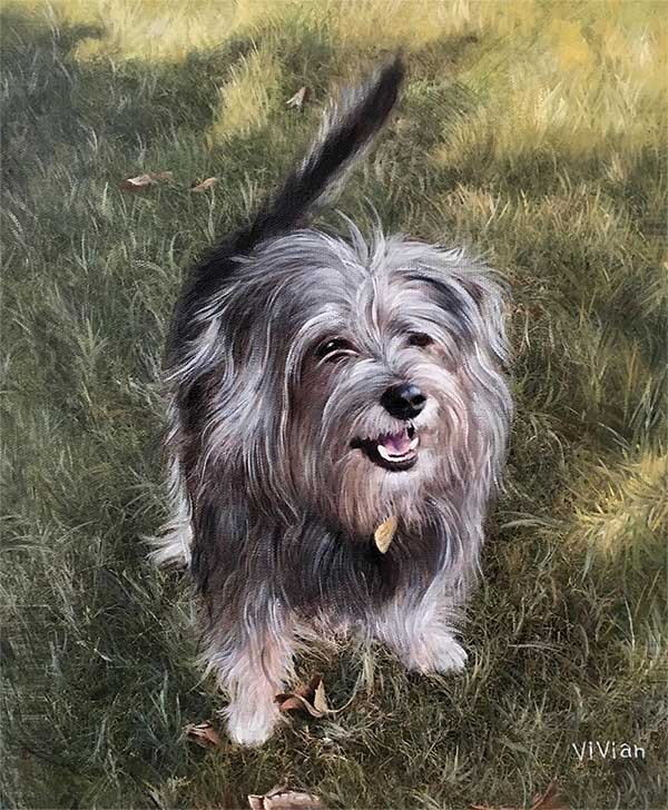 an oil painting of a grey dog in the green field