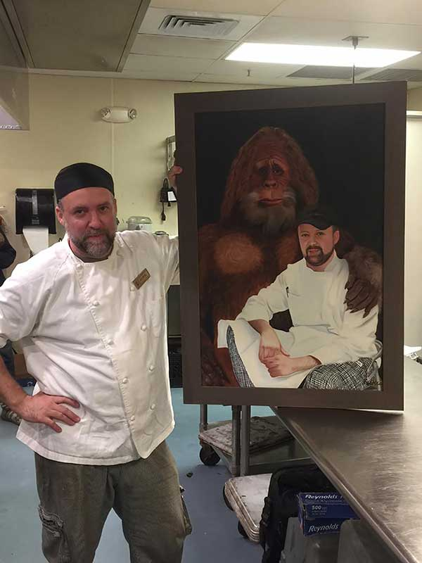 an oil painting of a bigfoot