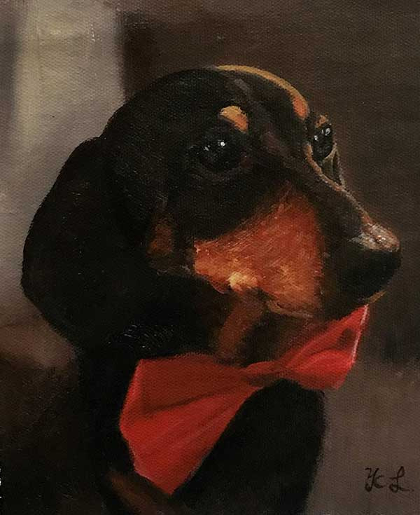 an acrylic painting of dutch hound with a red bow