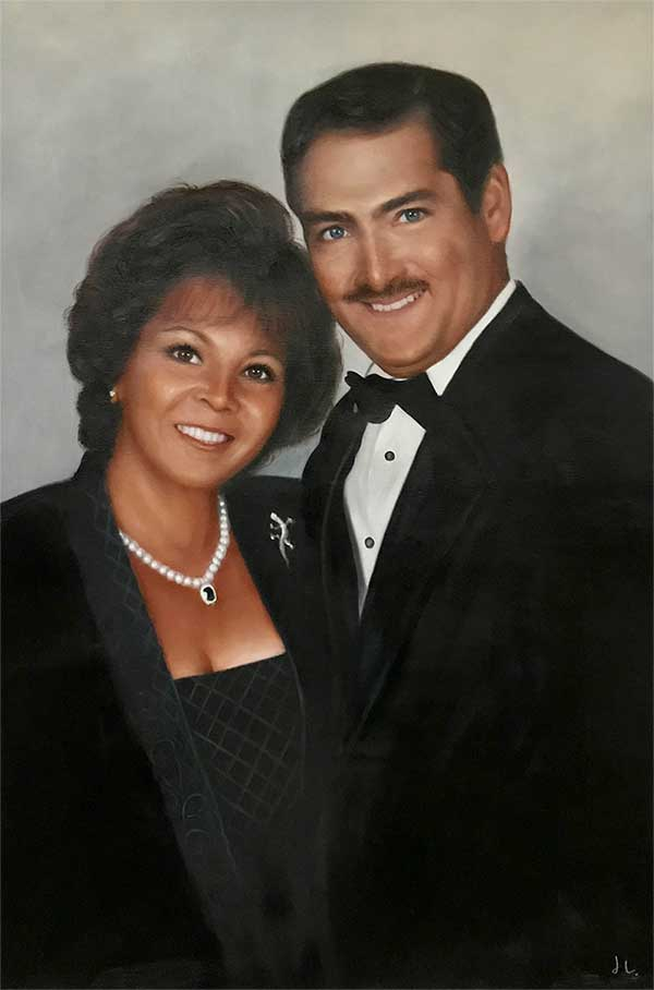 an oil painting of couple smiling classy