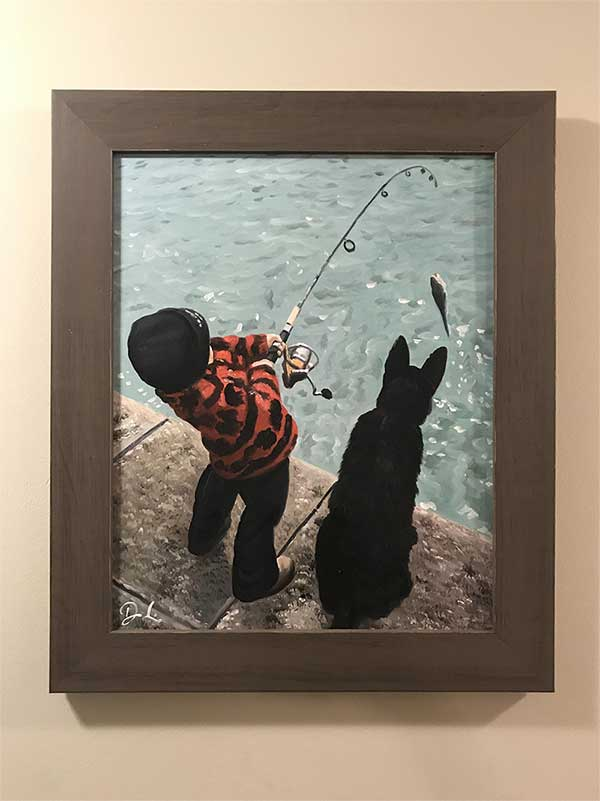 an oil painting of a boy and a dog by the pool fishing