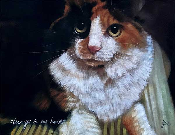 an oil painting of a black brown white cat with yellow green eyes memorial