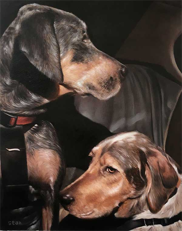 an oil painting of two big dogs together black background